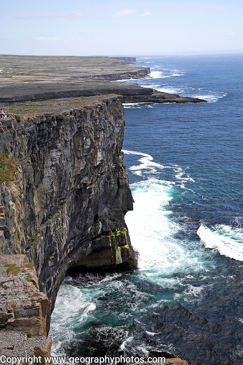 Steep cliffs Dún Aengus fort Inishmore, Aran Islands, County Clare, Ireland