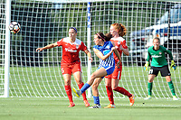 Boyds, MD - Saturday August 12, 2017: Whitney Church, Amanda DaCosta, Tori Huster during a regular season National Women's Soccer League (NWSL) match between the Washington Spirit and The Boston Breakers at Maureen Hendricks Field, Maryland SoccerPlex.