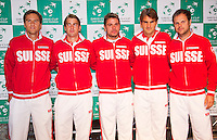 zz13-09-12, Netherlands, Amsterdam, Tennis, Daviscup Netherlands-Swiss, Draw , Swiss Team,  l.t.r.: Mario Chiudinelli, Michael Lemmer,Stanislas Wawrinka, Roger Federer and captain Severin Luthi.