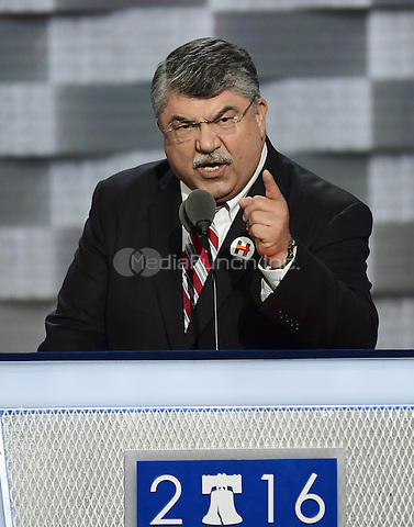 Richard Trumka, President, AFL-CIO, makes remarks at the 2016 Democratic National Convention at the Wells Fargo Center in Philadelphia, Pennsylvania on Monday, July 25, 2016.<br /> Credit: Ron Sachs / CNP/MediaPunch<br /> (RESTRICTION: NO New York or New Jersey Newspapers or newspapers within a 75 mile radius of New York City)