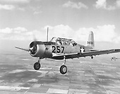 "The AT-6 advanced trainer, also known as a BT-13A,  was one of the most widely used aircraft in history. Evolving from the BC-1 basic combat trainer ordered in 1937, 15,495 Texans were built between 1938 and 1945.   In 1948, Texans still in United States Air Force (USAF) service were redesignated as T-6s when the AT, BT and PT aircraft designations were abandoned. To meet an urgent need for close air support of ground forces in the Korean Conflict, T-6s flew ""mosquito missions"" spotting enemy troops and guns and marking them with smoke rockets for attack by fighter-bombers. .Credit: U.S. Air Force via CNP"