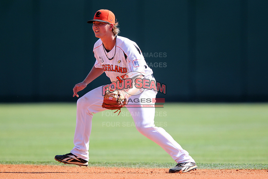 Netherlands second baseman Michael Pluijmers #15 during a game vs. the Tampa Bay Rays for an exhibition game at Al Lang Field in St. Petersburg, Florida;  March 9, 2011.  Tampa Bay defeated Netherlands 4-3.  Photo By Mike Janes/Four Seam Images