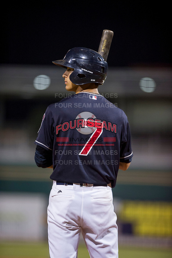 AZL Indians shortstop Tyler Freeman (7) at bat against the AZL Padres on August 30, 2017 at Goodyear Ball Park in Goodyear, Arizona. AZL Padres defeated the AZL Indians 7-6. (Zachary Lucy/Four Seam Images)