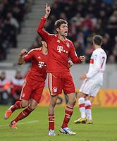 FUSSBALL   1. BUNDESLIGA  SAISON 2012/2013   19. Spieltag   VfB Stuttgart  - FC Bayern Muenchen      27.01.2013 JUBEL Thomas Mueller (FC Bayern Muenchen)