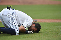 NWA Democrat-Gazette/J.T. WAMPLER Natural's Gabriel Cancel hits the deck after taking a pitch to the head Sunday June 9, 2019 at Arvest Ballpark in Springdale. The Naturals lost 10-2 to the Springfield Cardinals.