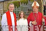Catriona O'Sullivan Shrone NS, Rathmore only student to receive Confirmation from Bishop Bill Murphy at Rathmore on Tuesday with Fr Larry Kelly and Bishop Murphy