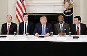 United States President Donald Trump (C) speaks as Juan Luciano (L) Chairman/President/CEO at Archer-Daniels-Midland Co, Jared Kushner, White House Senior Adviser, Kenneth Frazier Chairman and CEO, Merck  and Ford Motor CEO Mark Fields(R) look on during a  listening session with manufacturing CEOs  in the State Dining Room  of the White House on February 23, 2017 in Washington, DC.<br /> Credit: Olivier Douliery / Pool via CNP