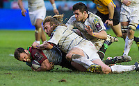 Jamie Roberts tackled by Kristian Dacey, Harlequins v Cardiff Blues in a European Challenge Cup match at Twickenham Stoop, Twickenham, London, England, on 17th January 2016
