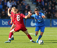 20191023 - Genk: Liverpool's Leighton Clarkson (6) and Genk's Elias Sierra are battling for the ball during the UEFA Youth League group stages match between KRC Genk Youth and Liverpool FC on October 23, 2019 at KRC Genk Stadium Arena B, Genk, Belgium. PHOTO:  SPORTPIX.BE   SEVIL OKTEM