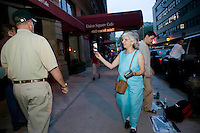 20 April 2005 - New York City, NY - An animal rights activist handsout leaflets denouncing the production and consumption of fatty goose and duck liver, known as foie gras, as cruel in front of a restaurant serving it in New York City, US, 20 April 2005. Activists have attempted to get a law passed that would ban the the force feeding of ducks and geese in the state of New York.