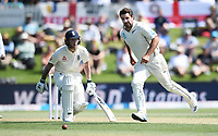 21st November 2019; Mt Maunganui, New Zealand;  Colin de Grandhomme fielding as Ben Stokes looks on during play on international test match cricket, Day 1, New Zealand versus England at Bay Oval, Mt Maunganui, New Zealand.