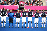 01.09.2012.  London, England. The USA team line-up ahead of their Men's Football 7-a-side Preliminaries Pool B match against Ukraine