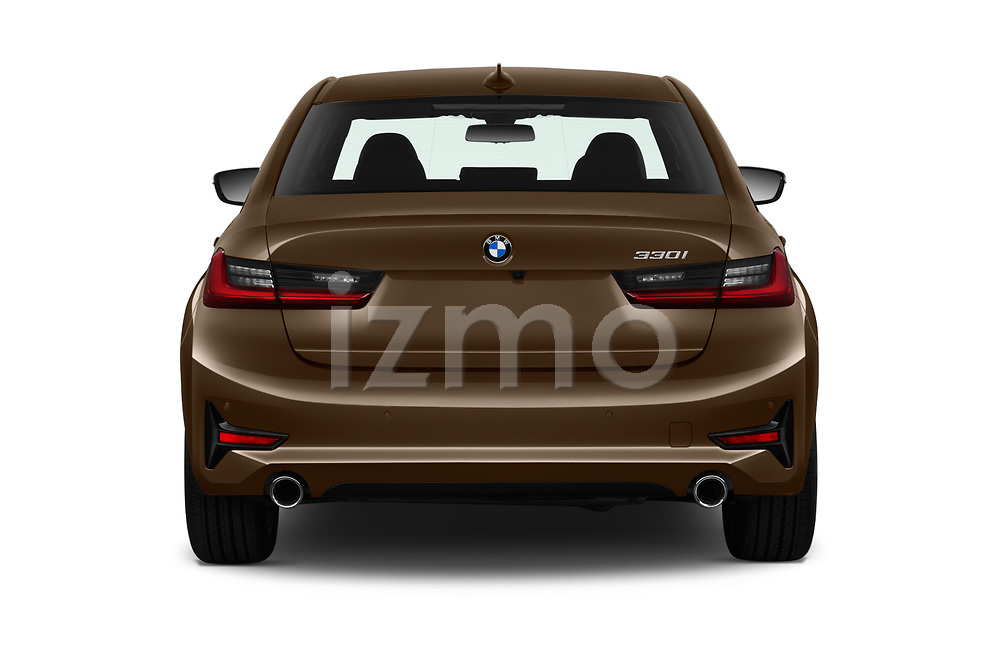 Straight rear view of a 2019 BMW 3-Series  Sport 4 Door Sedan stock images