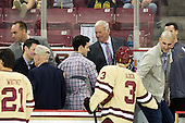 Mike Cavanaugh (BC - Associate Head Coach), Matt Price, ?, Matt Lombardi, Jim Logue (BC - Assistant Coach), Patch Alber (BC - 3), Mike Feeley, Tom Maguire (BC - Senior Manager) - The Boston College Eagles defeated the visiting Northeastern University Huskies 3-0 after a banner-raising ceremony for BC's 2012 national championship on Saturday, October 20, 2012, at Kelley Rink in Conte Forum in Chestnut Hill, Massachusetts.