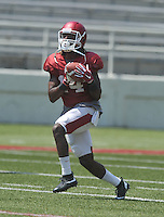 NWA Democrat-Gazette/MICHAEL WOODS &bull; @NWAMICHAELW<br /> University of Arkansas receiver Eric Hawkins runs drills during practice Saturday, August 15, 2015 at Razorback Stadium in Fayetteville.
