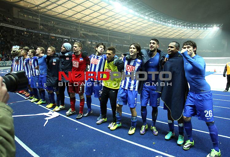 13.12.2013, OLympiastadion, Berlin, GER, 1.FBL, Hertha BSC vs Werder Bremen, im Bild Jubel, jubelt, Freude, Glueck, gluecklich, positive Emotionen,, Ronny (Hertha BSC Berlin), Tolga Cigerci (Hertha BSC Berlin), Hajime Hosogai (Hertha BSC Berlin), Nico Schulz (Hertha BSC Berlin)<br /> <br />               <br /> Foto &copy; nph /  Schulz