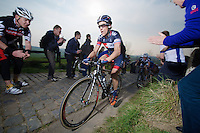 Sylvain Chavanel (FRA/IAM) up the Paterberg (max 20%)<br /> <br /> 57th E3 Harelbeke 2014