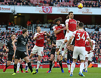 Arsenal's Sokratis Papastathopoulos rises highest to clear the danger<br /> <br /> Photographer David Shipman/CameraSport<br /> <br /> The Premier League - Arsenal v Burnley - Saturday 22nd December 2018 - The Emirates - London<br /> <br /> World Copyright © 2018 CameraSport. All rights reserved. 43 Linden Ave. Countesthorpe. Leicester. England. LE8 5PG - Tel: +44 (0) 116 277 4147 - admin@camerasport.com - www.camerasport.com