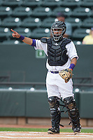 Winston-Salem Dash catcher Omar Narvaez (22) lets the defense know there is one out during the game against the Myrtle Beach Pelicans at BB&T Ballpark on April 18, 2015 in Winston-Salem, North Carolina.  The Pelicans defeated the Dash 4-1 in game one of a double-header.  (Brian Westerholt/Four Seam Images)