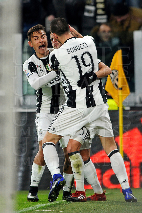 Calcio, quarti di finale di Tim Cup: Juventus vs Milan. Torino, Juventus Stadium, 25 gennaio 2017.<br /> Juventus' Miralem Pjanic, center, celebrates with teammates Paulo Dybala, left, and Leonardo Bonucci after scoring on a free kick during the Italian Cup quarter finals football match between Juventus and AC Milan at Turin's Juventus stadium, 25 January 2017.<br /> UPDATE IMAGES PRESS/Manuela Viganti