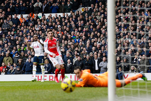 07.02.2015.  London, England. Barclays Premier League. Tottenham Hotspur versus Arsenal.  The home crowd anxiously watch a Danny Rose shot go narrowly wide