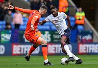 Bolton Wanderers' Sammy Ameobi competing with Millwall's Jake Cooper <br /> <br /> Photographer Andrew Kearns/CameraSport<br /> <br /> The EFL Sky Bet Championship - Bolton Wanderers v Millwall - Saturday 9th March 2019 - University of Bolton Stadium - Bolton <br /> <br /> World Copyright © 2019 CameraSport. All rights reserved. 43 Linden Ave. Countesthorpe. Leicester. England. LE8 5PG - Tel: +44 (0) 116 277 4147 - admin@camerasport.com - www.camerasport.com