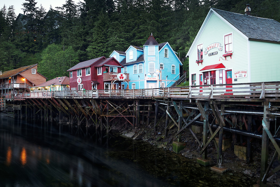 Dolly's House and other buildings on pilings above Ketchikan Creek, historic Creek Street, Ketchikan, Alaska