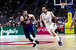 Barcelona's Pau Ribas and Real Madrid's Sergio Llull during Liga Endesa match between Real Madrid and FC Barcelona Lassa at Wizink Center in Madrid, Spain. March 24, 2019.  (ALTERPHOTOS/Alconada)