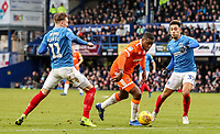 Blackpool's Donervon Daniels competing with Portsmouth's Luke McGee and Andre Green<br /> <br /> Photographer Andrew Kearns/CameraSport<br /> <br /> The EFL Sky Bet League One - Portsmouth v Blackpool - Saturday 12th January 2019 - Fratton Park - Portsmouth<br /> <br /> World Copyright © 2019 CameraSport. All rights reserved. 43 Linden Ave. Countesthorpe. Leicester. England. LE8 5PG - Tel: +44 (0) 116 277 4147 - admin@camerasport.com - www.camerasport.com
