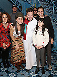 Alison Cimmet, Heath Calvert, Phillipa Soo, Manoel Felciano, David Andino, Adam Chanler-Berat and Savvy Crawford during the Actors' Equity Broadway Opening Night Gypsy Robe Ceremony honoring Manoel Felciano for 'Amelie' at the Walter Kerr Theatre on April 3, 2017 in New York City