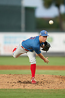 Clearwater Threshers pitcher Seth McGarry (47) during a Florida State League game against the Palm Beach Cardinals on August 9, 2019 at Roger Dean Chevrolet Stadium in Jupiter, Florida.  Palm Beach defeated Clearwater 3-0 in the second game of a doubleheader.  (Mike Janes/Four Seam Images)