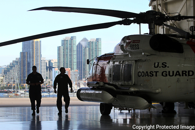The U.S. Coast Guard station in San Diego is home to three MH-60T Jayhawk helicopters which are housed in a hanger with a commanding view of downtown San Diego in 2012.  photo for the North County Times