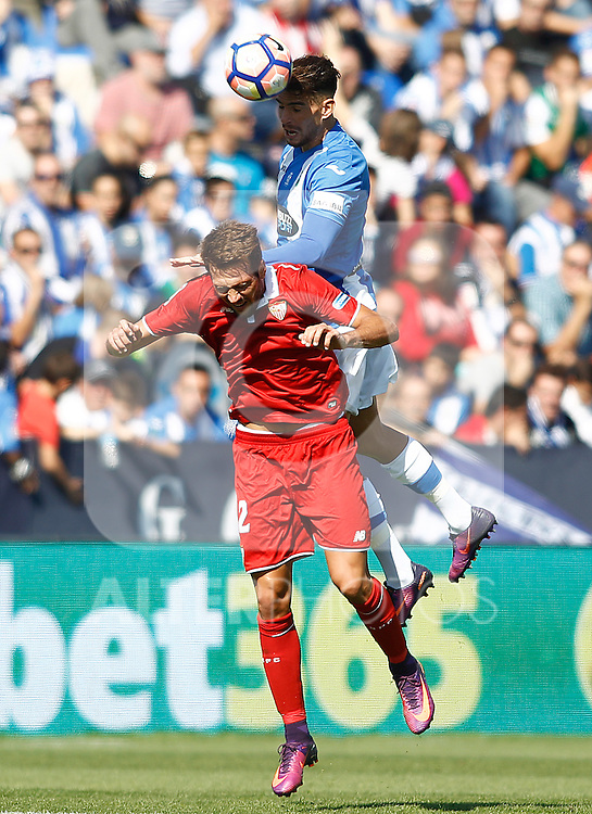 CD Leganes' Carl Madjani (t) and Sevilla FC's Franco Vazquez during La Liga match. October 15,2016. (ALTERPHOTOS/Acero)