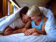 A young couple enjoys time together after waking up on a Cruise ship