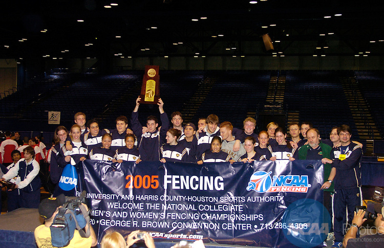 18 Mar 2005:  The Notre Dame team celebrates winning the overall team national title following the Division 1 Women's Fencing Championship held at the George R. Brown Convention Center in Houston, TX. Stephen Nowland/NCAA Photos