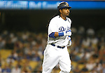 LOS ANGELES, CA. - September 02: Manny Ramirez of the Los Angeles Dodgers  running back to dugout during the game Dodgers vs. the Arizona Diamondbacks at Dodger Stadium in Los Angeles, California on September 2, 2009.