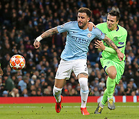Manchester City's Kyle Walker holds off the challenge from FC Schalke 04&rsquo;s Yevhen Konoplyanka<br /> <br /> Photographer Rich Linley/CameraSport<br /> <br /> UEFA Champions League Round of 16 Second Leg - Manchester City v FC Schalke 04 - Tuesday 12th March 2019 - The Etihad - Manchester<br />  <br /> World Copyright &copy; 2018 CameraSport. All rights reserved. 43 Linden Ave. Countesthorpe. Leicester. England. LE8 5PG - Tel: +44 (0) 116 277 4147 - admin@camerasport.com - www.camerasport.com