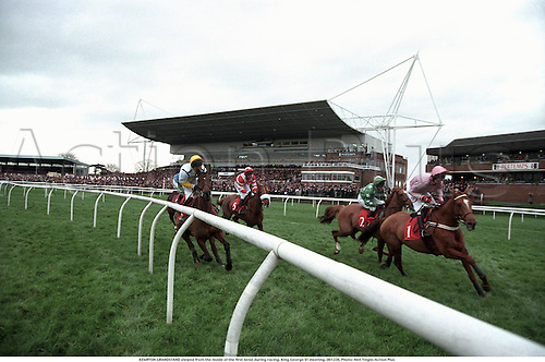 KEMPTON GRANDSTAND viewed from the inside of the first bend during racing, King George VI meeting, 001226. Photo: Neil Tingle/Action Plus...2000.horse racing.venue.F9N10.national hunt.steeplechase.steeplechasing.jumps.equestrian sports