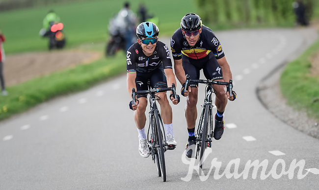 Michal Kwiatkowski (POL/SKY) &amp; Philippe Gilbert (BEL/Quick Step floors) having a little chat while racing together towards the finish<br /> <br /> 52nd Amstel Gold Race (1.UWT)<br /> 1 Day Race: Maastricht &rsaquo; Berg en Terblijt (264km)