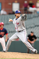 Round Rock Express relief pitcher Chris Mobley #45 delivers a pitch during a game versus the Memphis Redbirds at Autozone Park on April 30, 2011 in Memphis, Tennessee.  Memphis defeated Round Rock by the score of 10-7.  Photo By Mike Janes/Four Seam Images