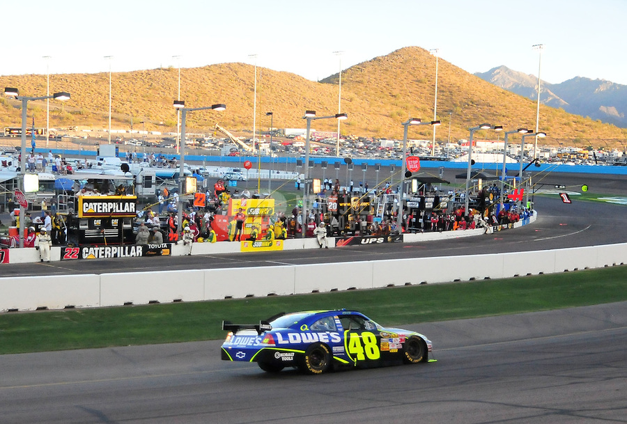 Apr 12, 2008; Avondale, AZ, USA; NASCAR Sprint Cup Series driver Jimmie Johnson during the Subway Fresh Fit 500 at Phoenix International Raceway. Mandatory Credit: Mark J. Rebilas-US PRESSWIRE