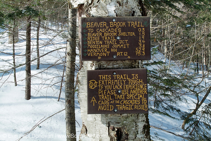 Warning sign along the Appalachian Trail (Beaver Brook Trail) in Kinsman Notch of the New Hampshire White Mountains.