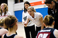 11 MAR 2009 - SHEFFIELD,GBR - Loughborough University coach Olivia Murphy offers guidance to her team during their match against  the University of Bath in the Championship Final at the 2009 BUCS Championships. (PHOTO (C) NIGEL FARROW)