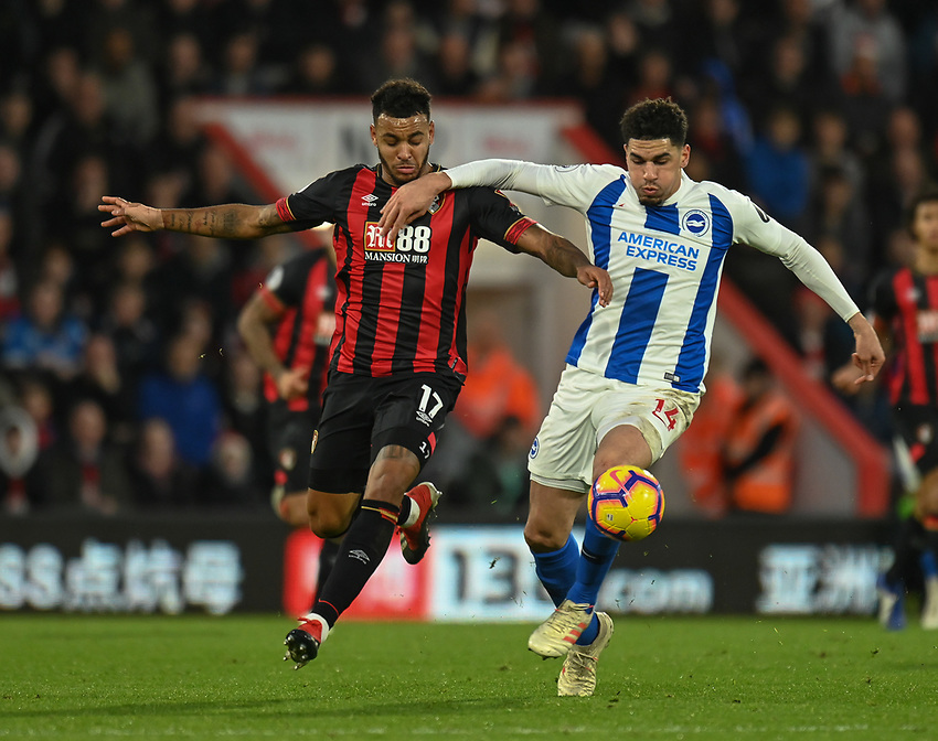 Brighton & Hove Albion's Davy Propper (right) vies for possession with Bournemouth's Joshua King (left) <br /> <br /> Photographer David Horton/CameraSport<br /> <br /> The Premier League - Bournemouth v Brighton and Hove Albion - Saturday 22nd December 2018 - Vitality Stadium - Bournemouth<br /> <br /> World Copyright © 2018 CameraSport. All rights reserved. 43 Linden Ave. Countesthorpe. Leicester. England. LE8 5PG - Tel: +44 (0) 116 277 4147 - admin@camerasport.com - www.camerasport.com