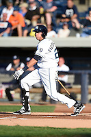 West Michigan Whitecaps designated hitter Dominic Ficociello (25) at bat during a game against the Great Lakes Loons on June 4, 2014 at Fifth Third Ballpark in Comstock Park, Michigan.  West Michigan defeated Great Lakes 4-1.  (Mike Janes/Four Seam Images)