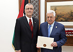 Palestinian President Mahmoud Abbas receives the credentials of the Ambassador of Slovenia to the State of Palestine, in the West Bank city of Ramallah, August 01, 2019. Photo by Thaer Ganaim