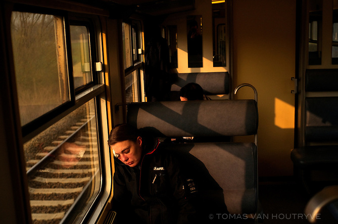 A passenger is seen on the train in Bierghes, Belgium on March 30, 2013.