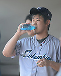Daisuke Matsuzaka (Clippers),<br /> JUNE 11, 2013 - MLB :<br /> Daisuke Matsuzaka of the Columbus Clippers takes a drink in the dugout during minor's International League (Triple-A) baseball game against the Gwinnett Braves at Coolray Field in Lawrenceville, Georgia, United States. (Photo by AFLO)