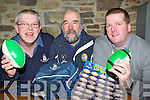 Brendan Murphy, Tom Curtayne and Adrian Boyle launching the Killorglin Rugby club Bonus EUR60 Lotto Rugby ball in Kingston's bar Killorglin Friday night