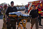 Emts arriving at scene of a mass casualty incident